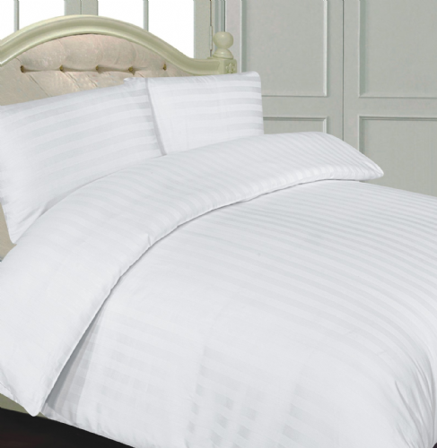 WHITE COLOUR 300 THREAD COUNT LUXURY HOTEL QUALITY STRIPE SATEEN BEDDING DUVET SET